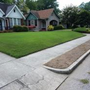 green lawn in front of a brick and white house that has been treated by the lawn care professionals at Herbi Systems
